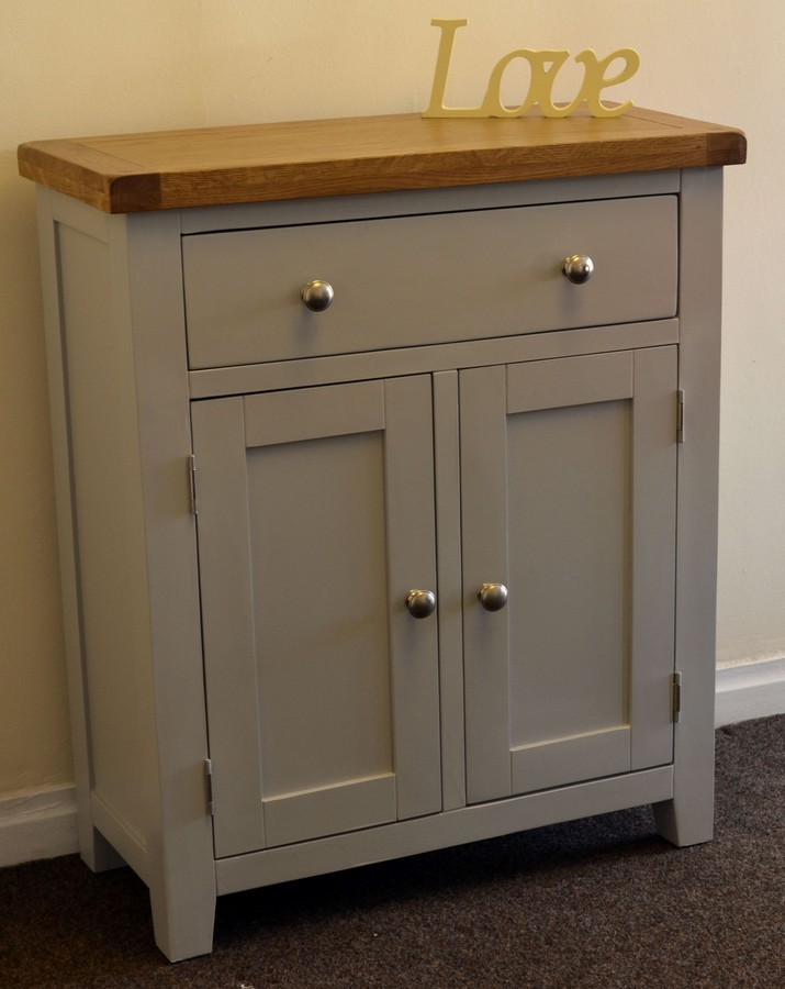 Dorset French Grey Painted Oak And Pine Hall Cabinet