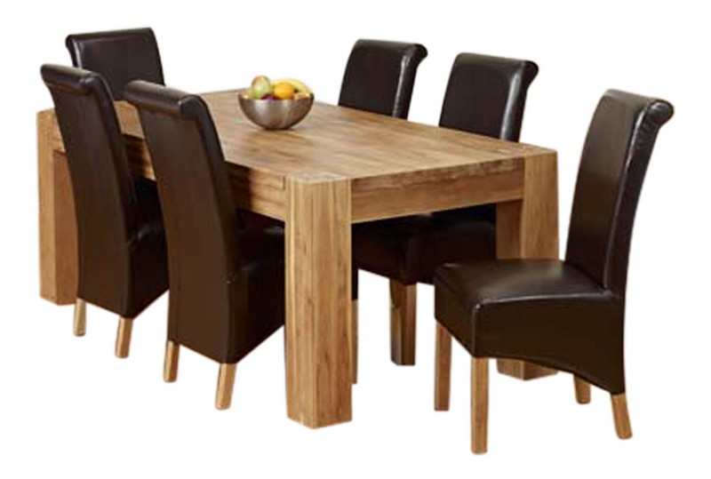 Solid Chunky Oak 2 Metre Dining Table amp 6 Brown Faux  : HKA20LET200020Chairs from www.ebay.co.uk size 800 x 539 jpeg 65kB